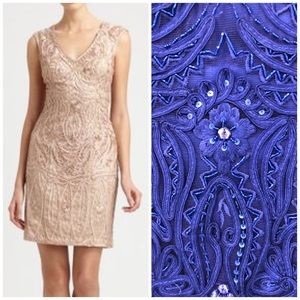 Sue Wong Natural Soutache Embroidery Dress